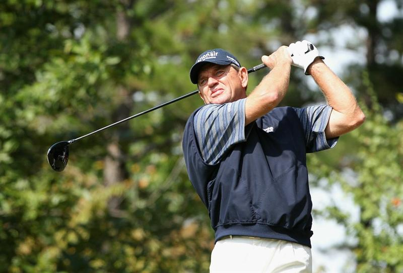 CONOVER, NC - OCTOBER 03:  Nick Price hits a tee shot on the fourth hole during the final round of the Ensure Classic at the Rock Barn Golf & Spa on October 3, 2010 in Conover, North Carolina.  (Photo by Christian Petersen/Getty Images)