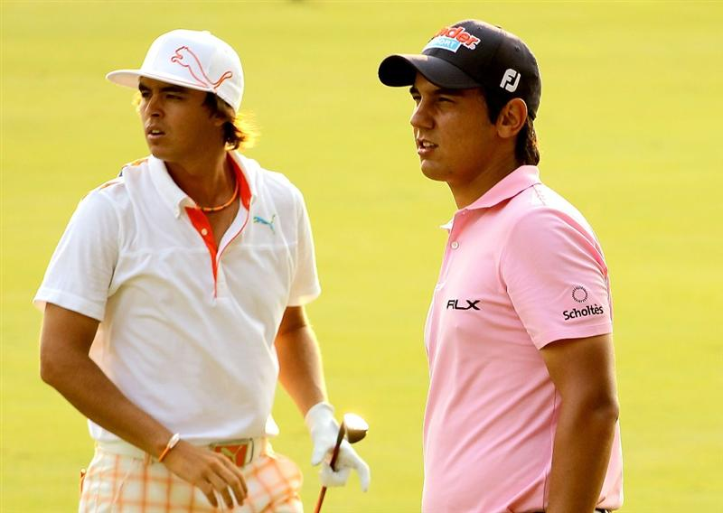 PONTE VEDRA BEACH, FL - MAY 12:  Rickie Fowler and Matteo Manassero of Italy talk on the 16th hole during the first round of THE PLAYERS Championship held at THE PLAYERS Stadium course at TPC Sawgrass on May 12, 2011 in Ponte Vedra Beach, Florida.  (Photo by Scott Halleran/Getty Images)