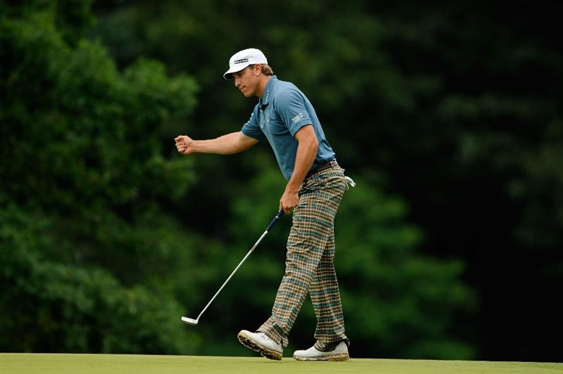FARMINGDALE, NY - JUNE 21:  Ricky Barnes celebrates making eagle on the fourth hole during the continuation of the third round of the 109th U.S. Open on the Black Course at Bethpage State Park on June 21, 2009 in Farmingdale, New York.  (Photo by Sam Greenwood/Getty Images)