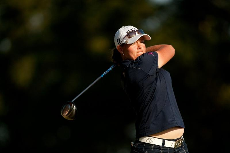 PRATTVILLE, AL - OCTOBER 8: Katherine Hull of Australia follows through on a tee shot during the second round of the Navistar LPGA Classic at the Senator Course at the Robert Trent Jones Golf Trail  on October 8, 2010 in Prattville, Alabama. (Photo by Darren Carroll/Getty Images)