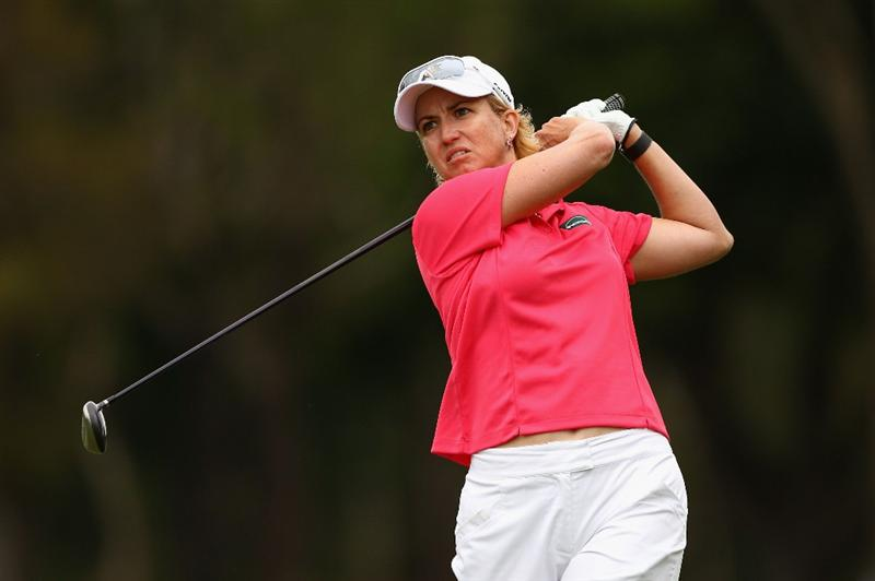 GOLD COAST, AUSTRALIA - MARCH 05:  Karrie Webb of Australia plays a fairway wood on the 3rd hole during round two of the 2010 ANZ Ladies Masters at Royal Pines Resort on March 5, 2010 in Gold Coast, Australia.  (Photo by Ryan Pierse/Getty Images)