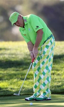 LA JOLLA, CA - JANUARY 28:   John Daly putts off the 12th hole during the second round of the Farmers Insurance Open at Torrey Pines on January 28, 2011 in La Jolla, California. (Photo by Donald Miralle/Getty Images)