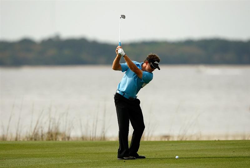 HILTON HEAD ISLAND, SC - APRIL 18:  Brian Gay hits a shot on the 18th hole during the third round of the Verizon Heritage at Harbour Town Golf Links on April 18, 2009 in Hilton Head Island, South Carolina.  (Photo by Streeter Lecka/Getty Images)