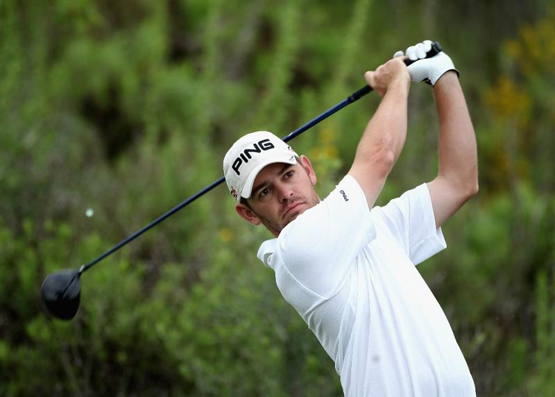 CASARES, SPAIN - MAY 20:  Louis Oosthuizen of South Africa tees of on the third hole during the group stages of the Volvo World Match Play Championships at Finca Cortesin on May 20, 2011 in Casares, Spain.  (Photo by Warren Little/Getty Images)