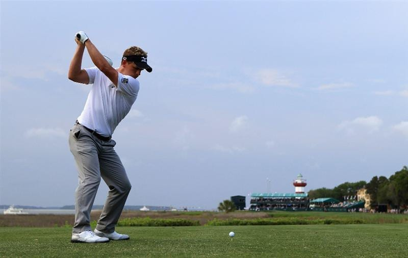 HILTON HEAD ISLAND, SC - APRIL 22:  Luke Donald of England hits his tee shot on the 18th hole during the second round of The Heritage at Harbour Town Golf Links on April 22, 2011 in Hilton Head Island, South Carolina.  (Photo by Streeter Lecka/Getty Images)