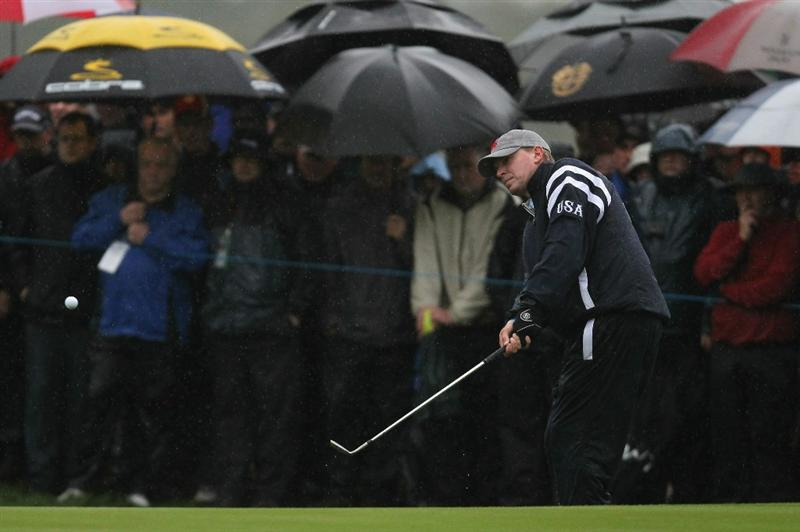 NEWPORT, WALES - OCTOBER 01:  Steve Stricker of the USA hits a shot on the first hole during the Morning Fourball Matches during the 2010 Ryder Cup at the Celtic Manor Resort on October 1, 2010 in Newport, Wales.  (Photo by Andy Lyons/Getty Images)