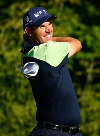 CHASKA, MN - AUGUST 12:  Padraig Harrington of Ireland hits a shot during the third preview day of the 91st PGA Championship at Hazeltine National Golf Club on August 12, 2009 in Chaska, Minnesota.  (Photo by Scott Halleran/Getty Images)