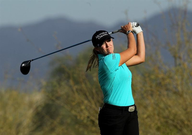 PHOENIX, AZ - MARCH 18:  Cristie Kerr hits her tee shot on the 18th hole during the first round of the RR Donnelley LPGA Founders Cup at Wildfire Golf Club on March 18, 2011 in Phoenix, Arizona.  (Photo by Stephen Dunn/Getty Images)