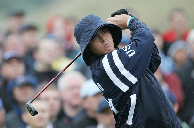 NEWPORT, WALES - SEPTEMBER 29:  Rickie Fowler of the USA hits a shot during a practice round prior to the 2010 Ryder Cup at the Celtic Manor Resort on September 29, 2010 in Newport, Wales.  (Photo by Jamie Squire/Getty Images)