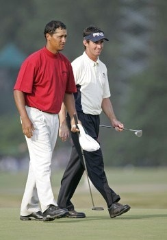 Michael Campbell and Mark Hensby walk up the 18th fairway during the third round of the 2005 U.S. Open Golf Championship at Pinehurst Resort course 2 in Pinehurst, North Carolina on June 18, 2005.Photo by Sam Greenwood/WireImage.com