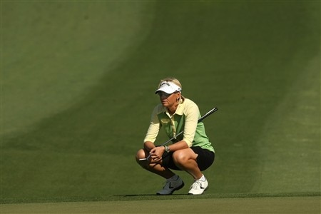 RANCHO MIRAGE, CA - APRIL 06:  Liselotte Neumann of Sweden waits to putt on the second hole during the final round of the Kraft Nabisco Championship at Mission Hills Country Club on April 6, 2008 in Rancho Mirage, California.  (Photo by Stephen Dunn/Getty Images)
