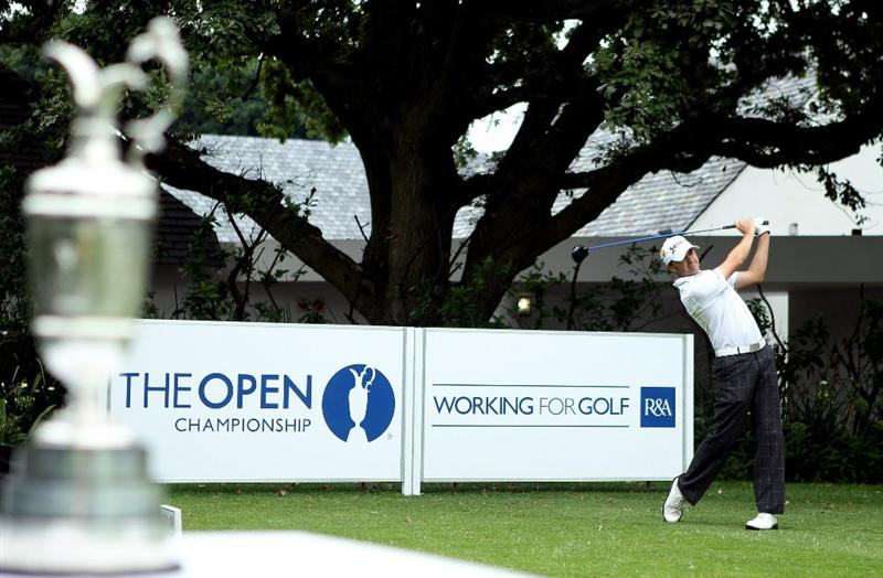 JOHANNESBURG, SOUTH AFRICA - JANUARY 20:  Andrew Marshall of England tees off on the first hole during the second round of The 2011 Open Championship, International Final Qualifying Africa at Royal Johannesburg & Kensington Golf Club on January 20, 2011 in Johannesburg, South Africa.  (Photo by Warren Little/Getty Images)
