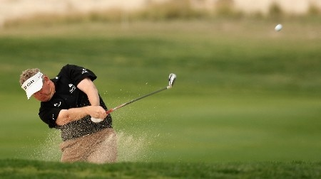 DOHA, QATAR - JANUARY 25:  Colin Montgomerie of Scotland in action on the par four 6th hole during the second round of the Commercial Bank Qatar Masters held at the Doha Golf Club on January 25, 2008 in Doha,Qatar.  (Photo by Ross Kinnaird/Getty Images)