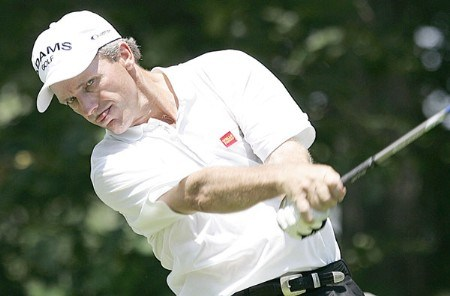 Jerry Pate of Pensacola, Florida, tees off on 9 during the second round of the 2005 Bank of America Championship at Nashawtuc Country Club in Concord, Massachusetts, Saturday, June 25, 2005.Photo by Jim Rogash/WireImage.com