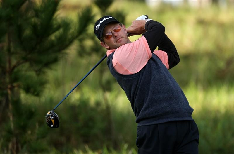 PEBBLE BEACH, CA - FEBRUARY 14:  Retief Gossen of South Africa hits his tee shot on the 11th hole  during the third round of the the AT&T Pebble Beach National Pro-Am at Spyglass Hill Golf Course on February 14, 2009 in Pebble Beach, California.  (Photo by Stephen Dunn/Getty Images)