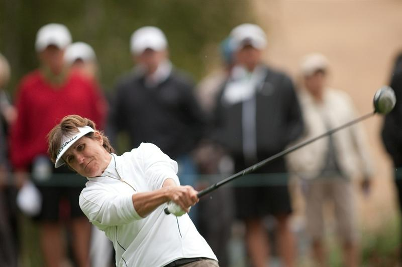 DANVILLE, CA - OCTOBER 17: Michele Redman follows through on a tee shot during the final round of the CVS/Pharmacy LPGA Challenge at Blackhawk Country Club on October 17, 2010 in Danville, California. (Photo by Darren Carroll/Getty Images)