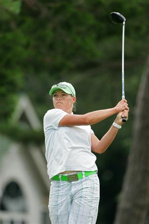 GALLOWAY, NJ - JUNE 20:  Katherine Hull of Australia hits her drive on the second hole during the final round of the ShopRite LPGA Classic held at Dolce Seaview Resort (Bay Course) on June 20, 2010 in Galloway, New Jersey.  (Photo by Michael Cohen/Getty Images)