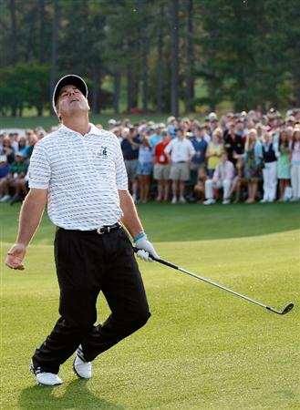 AUGUSTA, GA - APRIL 12:  Kenny Perry reacts to his chip shot on the first sudden death playoff hole during the final round of the 2009 Masters Tournament at Augusta National Golf Club on April 12, 2009 in Augusta, Georgia.  (Photo by Jamie Squire/Getty Images)