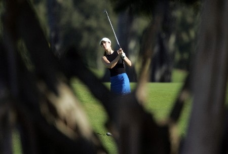 KAHUKU, HI - FEBRUARY 16:  Sandra Gal of Germany hits her second shot on the 1st hole during the final round of the SBS Open on February 16, 2008  at the Turtle Bay Resort in Kahuku, Hawaii.  (Photo by Andy Lyons/Getty Images)