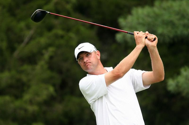 BETHESDA, MD - JULY 05:  Lucas Glover watches his tee shot on the third hole during the final round of the AT&T National at the Congressional Country Club on July 5, 2009 in Bethesda, Maryland.  (Photo by Hunter Martin/Getty Images)