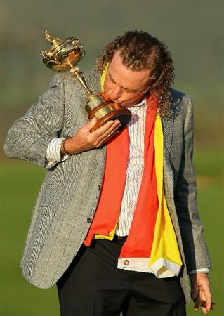 NEWPORT, WALES - OCTOBER 04:  European Team member Miguel Angel Jimenez kisses the Ryder Cup following Europe's 14.5 to 13.5 victory over the USA at the 2010 Ryder Cup at the Celtic Manor Resort on October 4, 2010 in Newport, Wales.  (Photo by Andy Lyons/Getty Images)