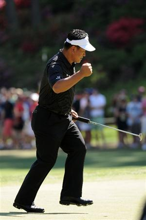 AUGUSTA, GA - APRIL 11:  K.J. Choi of South Korea celebrates a birdie putt on the eighth green during the final round of the 2010 Masters Tournament at Augusta National Golf Club on April 11, 2010 in Augusta, Georgia.  (Photo by Harry How/Getty Images)