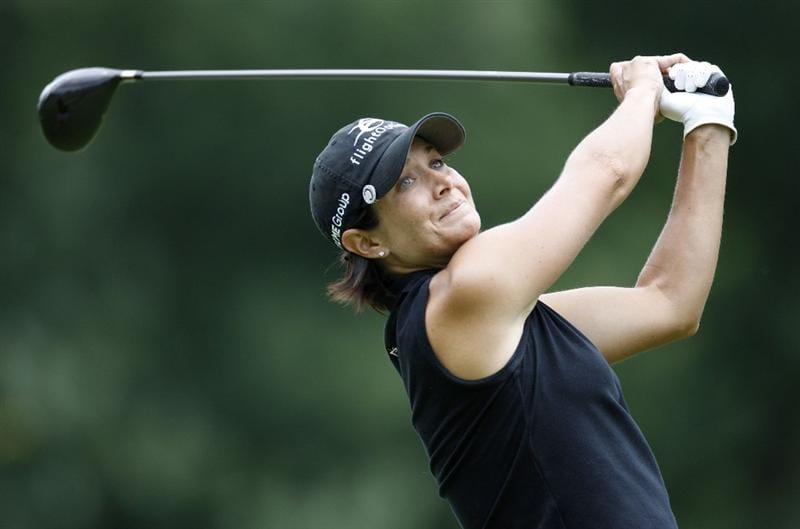 SYLVANIA, OH - JULY 03: Laura Diaz watches her drive on the eighth hole during the second round of the Jamie Farr Owens Corning Classic at Highland Hills Golf Club on July 3, 2009 in Sylvania, Ohio. (Photo by Gregory Shamus/Getty Images)
