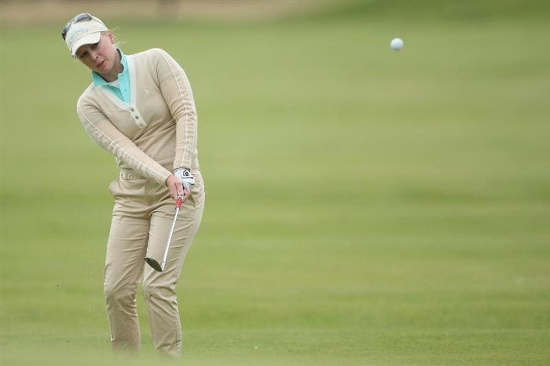 LYTHAM ST ANNES, ENGLAND - JULY 31:  Morgan Pressel of USA hits her third shot on the 11th hole during the second round of the 2009 Ricoh Women's British Open Championship held at Royal Lytham St Annes Golf Club, on July 31, 2009 in  Lytham St Annes, England.  (Photo by David Cannon/Getty Images)