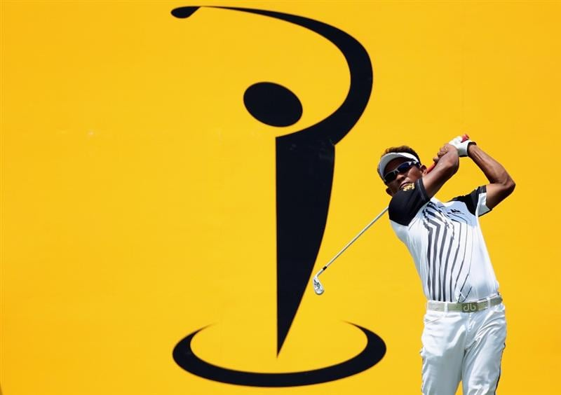 KUALA LUMPUR, MALAYSIA - MARCH 06:  Thongchai Jaidee of Thailand hits his tee-shot on the eighth hole during the the third round of the Maybank Malaysian Open at the Kuala Lumpur Golf and Country Club on March 6, 2010 in Kuala Lumpur, Malaysia.  (Photo by Andrew Redington/Getty Images)