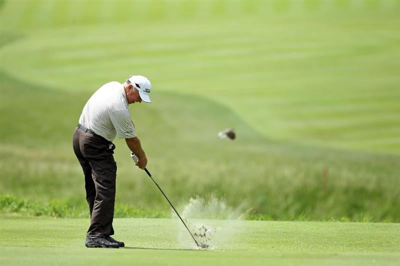 LOUISVILLE, KY - MAY 26:  Mark O'Meara hits his second shot on the par 4 6th hole during the first round of the Senior PGA Championship presented by KitchenAid at Valhalla Golf Club on May 26, 2011 in Louisville, Kentucky.  (Photo by Andy Lyons/Getty Images)