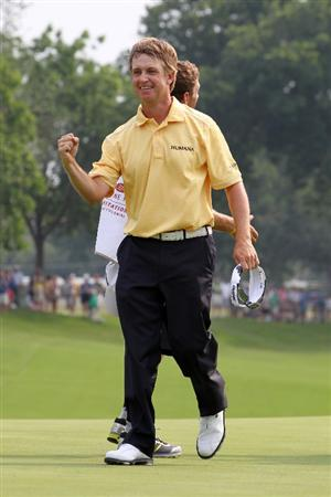 FORT WORTH, TX - MAY 22: David Toms celebrates on the 18th green after winning the Crowne Plaza Invitational at Colonial Country Club on May 22, 2011 in Fort Worth, Texas. (Photo by Hunter Martin/Getty Images)