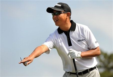 SAN DIEGO - JUNE 11:  Toru Taniguchi of Japan points and laughs during the third day of previews to the 108th U.S. Open at the Torrey Pines Golf Course (South Course) on June 11, 2008 in San Diego, California.  (Photo by Harry How/Getty Images)