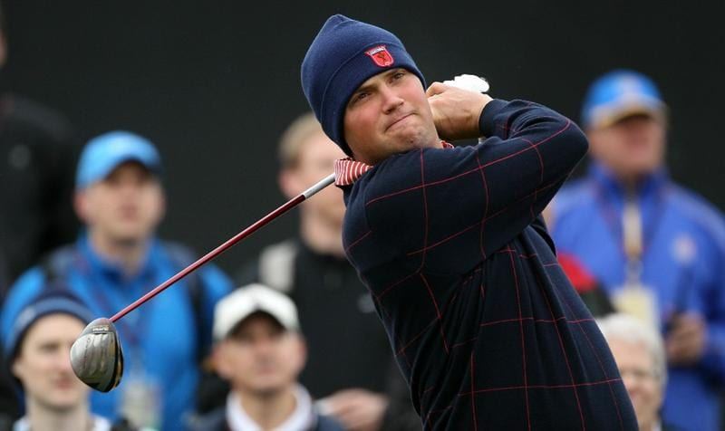 NEWPORT, WALES - SEPTEMBER 30:  Jeff Overton of the USA tees off during a practice round prior to the 2010 Ryder Cup at the Celtic Manor Resort on September 30, 2010 in Newport, Wales.  (Photo by Andy Lyons/Getty Images)