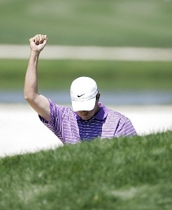Bo Van Pelt reacts after hitting an eagle from the sand on the second green during the final round of THE PLAYERS Championship held at the TPC Stadium Course in Ponte Vedra Beach, Florida on March 26, 2006.Photo by Michael Cohen/WireImage.com