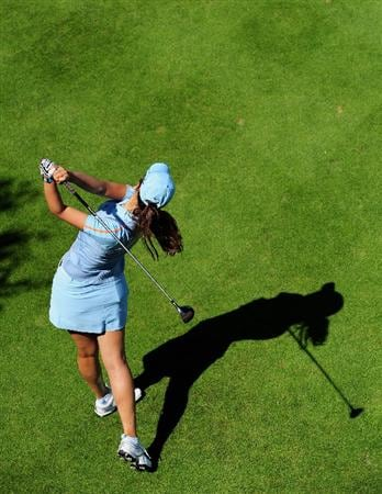 EVIAN-LES-BAINS, FRANCE - JULY 25:  Michelle Wie of USA plays her tee shot on the sixth hole during the third round of the Evian Masters at the Evian Masters Golf Club on July 25, 2009 in Evian-les-Bains, France.  (Photo by Stuart Franklin/Getty Images)