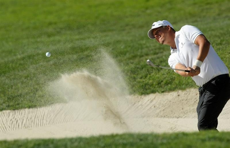 LA JOLLA, CA - JANUARY 29:  Fredrik Jacobson of Sweden hits out of the 6th green bunker during Round 3 of the Farmers Insurance Open at Torrey Pines on January 29, 2011 in La Jolla, California. (Photo by Donald Miralle/Getty Images)