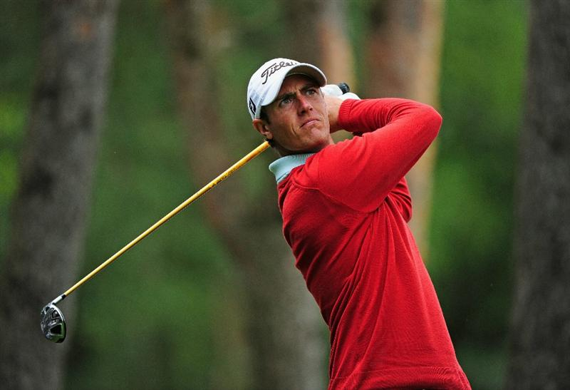 HILVERSUM, NETHERLANDS - SEPTEMBER 10:  Nicolas Colsaerts of Belgium plays his tee shot on the third hole during the second round of  The KLM Open Golf at The Hillversumsche Golf Club on September 10, 2010 in Hilversum, Netherlands.  (Photo by Stuart Franklin/Getty Images)