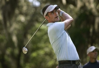 Jesper Parnevik on the 16th hole during the first round of the Verizon Heritage Classic being played at the Harbour Town Golf Links in Hilton Head, South Carolina on April 13, 2006.Photo by Mike Ehrmann/WireImage.com