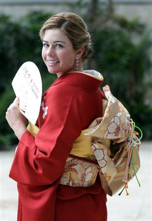 SINGAPORE - FEBRUARY 22:  Paula Creamer of the USA in traditional Japanese dress during a photocall at the Fairmont Hotel prior to the HSBC Women's Champions at Tanah Merah Country Club  on February 22, 2011 in Singapore, Singapore.  (Photo by Ross Kinnaird/Getty Images)