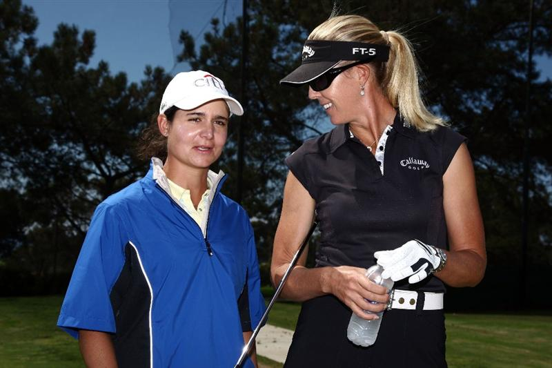 LA JOLLA, CA - SEPTEMBER 14:  LPGA players Lorena Ochoa of Mexico and Jill McGill of the USA speak during Fortune Magazine Clinic at the LPGA Samsung World Championship on September 14, 2009 at Torrey Pines Golf Course in La Jolla, California.  (Photo By Donald Miralle/Getty Images for the LPGA)