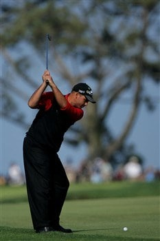 SAN DIEGO - JUNE 16:  Rocco Mediate hits his second shot on the first hole during the playoff round of the 108th U.S. Open at the Torrey Pines Golf Course (South Course) on June 16, 2008 in San Diego, California.  (Photo by Doug Pensinger/Getty Images)