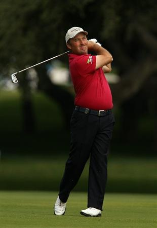 SOTOGRANDE, SPAIN - OCTOBER 29:  Damien McGrane of Ireland plays into the 7th green during the second round of the Andalucia Valderrama Masters at Club de Golf Valderrama on October 29, 2010 in Sotogrande, Spain.  (Photo by Richard Heathcote/Getty Images)