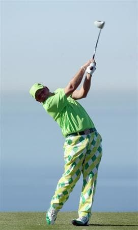 LA JOLLA, CA - JANUARY 28:   John Daly tees off the 13th hole during the second round of the Farmers Insurance Open at Torrey Pines on January 28, 2011 in La Jolla, California. (Photo by Donald Miralle/Getty Images)