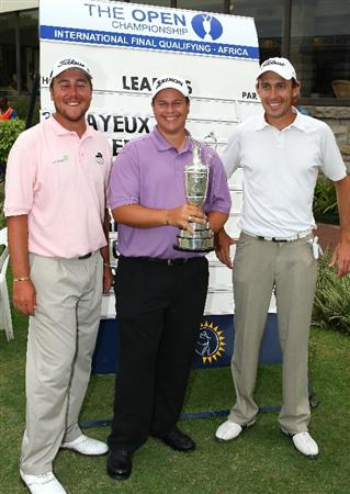 DURBAN, SOUTH AFRICA - FEBRUARY 04: Qualifiers (L-R) Jaco Ahlers of South Africa , Marc Cayeaux of Zimbabwe and Jeremy Kavanagh of England  pose for photographs during the second round of the International Final Qualifying Africa at the Royal Durban Golf Club on February 4, 2009 in Durban, South Africa. (Photo by Anesh Debiky/Getty Images)
