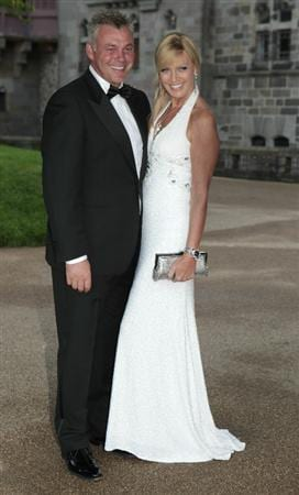 CARDIFF, UNITED KINGDOM - SEPTEMBER 29:  Darren Clarke  and Alison Campbell attend the 2010 Ryder Cup Dinner at Cardiff Castle, on September 29, 2010 in Cardiff, Wales. (Photo by Heathcliff O'Malley - WPA/Getty Images)