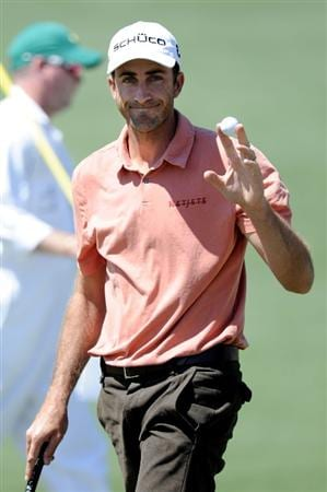 AUGUSTA, GA - APRIL 07:  Geoff Ogilvy of Australia waves to the gallery on the second hole during the first round of the 2011 Masters Tournament at Augusta National Golf Club on April 7, 2011 in Augusta, Georgia.  (Photo by Harry How/Getty Images)