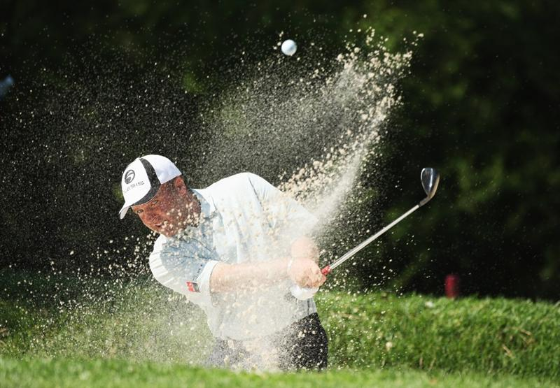 GIRONA, SPAIN - MAY 02:  Thomas Levet of France plays out of the 14th greenside bunker during the third round of the Open de Espana at the PGA Golf Catalunya on May 2, 2009 in Girona, Spain.  (Photo by Warren Little/Getty Images)