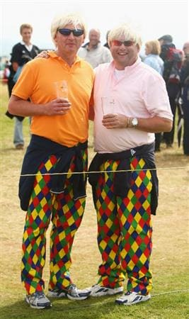 TURNBERRY, SCOTLAND - JULY 18:  Golf fans dressed up as John Daly enjoy the action during round three of the 138th Open Championship on the Ailsa Course, Turnberry Golf Club on July 18, 2009 in Turnberry, Scotland.  (Photo by Richard Heathcote/Getty Images)