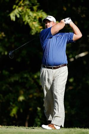 MADISON, MS - OCTOBER 02: Brendon de Jonge of Zimbabwe hits his drive on the 17th hole during the third round of the Viking Classic held at Annandale Golf Club on October 2, 2010 in Madison, Mississippi.  (Photo by Michael Cohen/Getty Images)