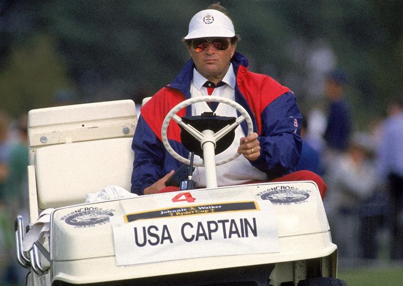 24 Sep 1989:  USA team captain Ray Floyd in his buggy during the Ryder Cup at The Belfry in Sutton Coldfield, England.  \ Mandatory Credit: David Cannon /Allsport